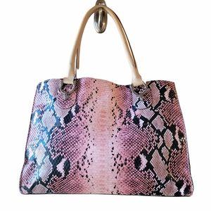 London Fog Pink Snake Print Handbag
